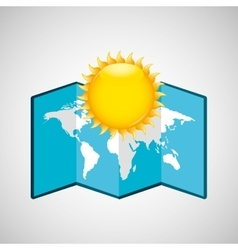 map with icon sun weather graphic vector image