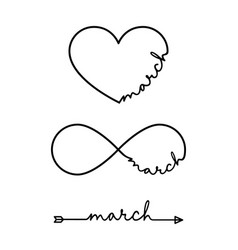 march - word with infinity symbol hand drawn vector image