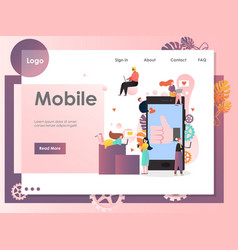 Mobile website landing page design template vector
