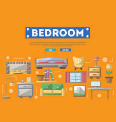 Modern bedroom interior decoration poster vector
