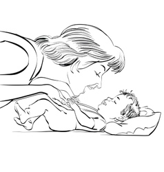mother and newborn baby love vector image