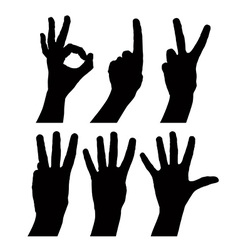 Numbers hand signs set detailed black and white vector image