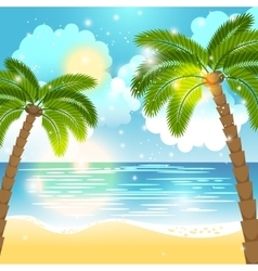 Ocean and palm trees background vector