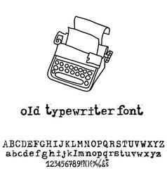 old typewriter font vintage grunge font vector image vector image
