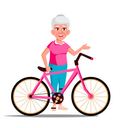 old woman with bicycle city bike outdoor vector image