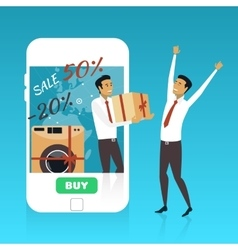 Online shopping on internet using mobile vector