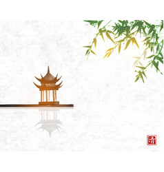Pagoda temlple over water surface and green vector