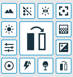 photo icons set with exposure nature brightness vector image