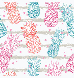 Pineapple on grunge stripes summer colorful vector