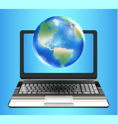 planet earth globe floating on laptop computer vector image