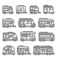 recreational vehicles rv camper vans icons set vector image