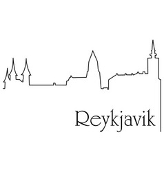 Reykjavik city one line drawing background vector
