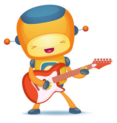 robot playing guitar vector image