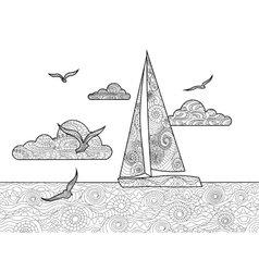 Sailboat coloring book for adults vector image