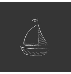 Sailboat Drawn in chalk icon vector image