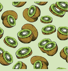 seamless pattern with stylized fresh kiwi fruit vector image