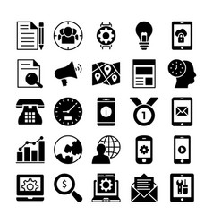Seo and marketing solid icons 2 vector