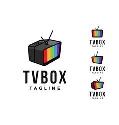 set monitor television tv box logo icon vector image