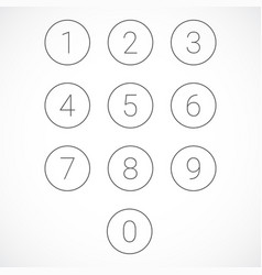 set of 0-9 numbers vector image