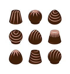 Set of chocolate candies isolated vector