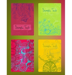 Set of colorful doodle cards vector image vector image