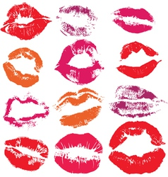 Set of print lips kiss vector