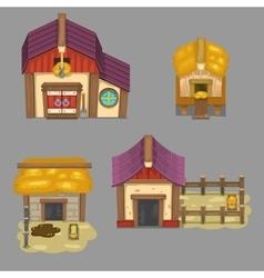 Set of rural buildings Create your own cartoon vector