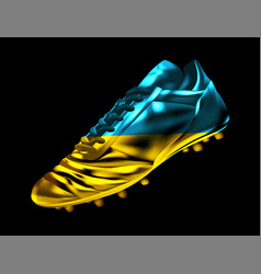 Soccer football boot with the flag of ukraine vector