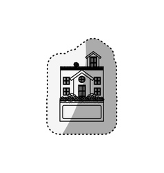 sticker silhouette house with terrace and label vector image