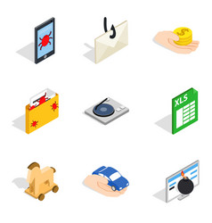 Supercomputer icons set isometric style vector