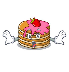 Surprised pancake with strawberry mascot cartoon vector