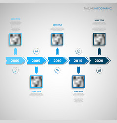 time line info graphic with direction indicators vector image