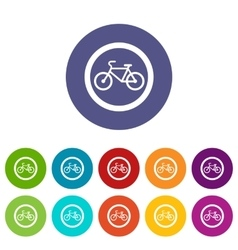 Travel by bicycle set icons vector