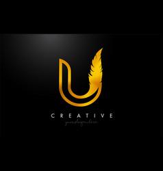 U golden gold feather letter logo icon design vector