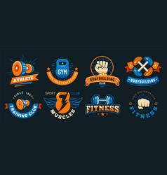 vintage gym emblem athlete muscles fitness vector image