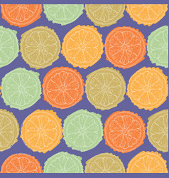 violet seamless pattern with citrus slices vector image