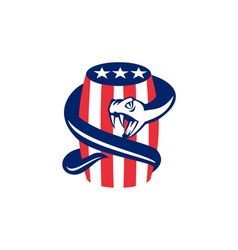 Viper Coiling Up Keg USA Flag Retro vector