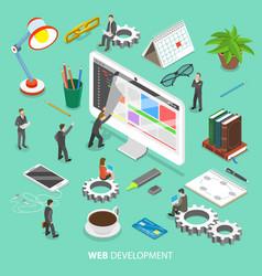 Web development flat isometric concept vector