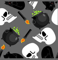 witch pattern magical pot and skull black cat and vector image