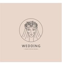 woman face logo bride wedding linear vector image