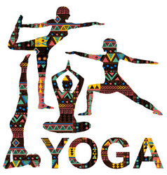 yoga background with silhouettes ornate vector image