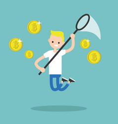 Young male character mining bitcoins conceptual vector