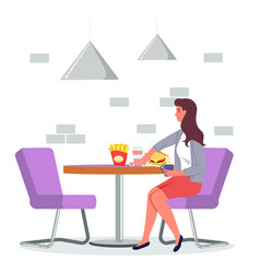 young woman sitting at table in cafe relaxing and vector image