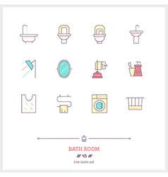 BATH ROOM Line Icons Set vector image