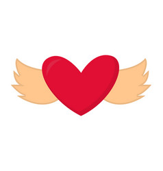heart with wings valentine abstract design vector image