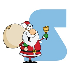 Letter S With Santa vector image vector image