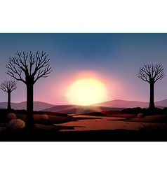 Silhouette sunset vector image vector image