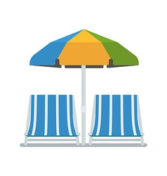 Chaise Lounges and Sun Umbrella vector image vector image
