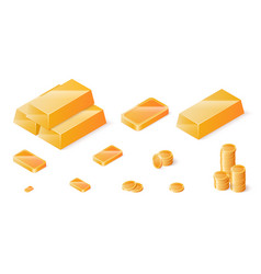 gold bars and coins set isometric vector image