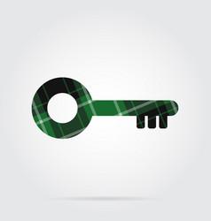 green black tartan isolated icon - key vector image vector image